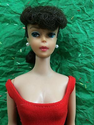 Vtg #7 Barbie Brunette Ponytail Doll~Red Helenica Swimsuit