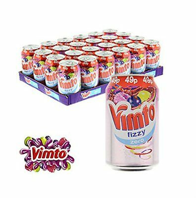 Pack of 24 Vimto Fizzy Zero No Sugar Cans Soft Drinks 330 ml each