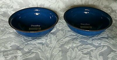 Denby Imperial Blue Medium Side Bowls 5.5 Inches X 2 New