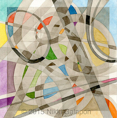 """Abstract Geometric Watercolor Painting 8""""x8"""" modern decor art multi-color ovals"""