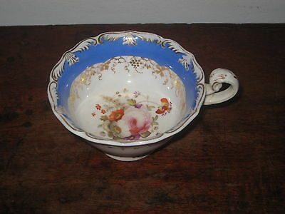 Colourful English Regency Tea Cup Gilded & Hand Painted Flower Bouquet