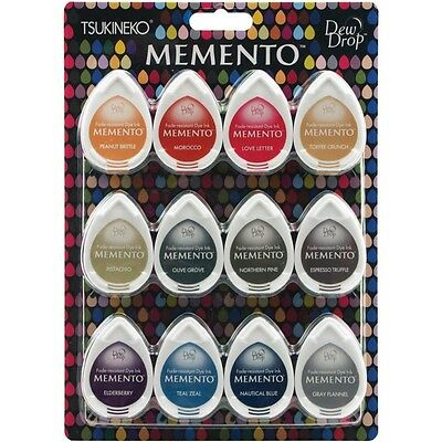 """Memento Dew Drop Ink Pads for Stamping - 12/pkg. """"SNOW CONES"""" Edging Coloring"""