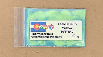 Teal Blue to Yellow Thermochromic Color Heat Change Powder Pigment 5g 86F