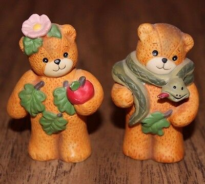 """Lucy Riggs Me Bear Figurines Enesco 3"""" Adam and Eve Snake Leaves Apple set of 2"""