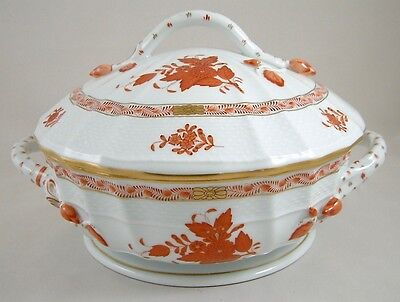 Herend Porcelain Chinese Bouquet Rust Aog Covered Vegetable Tureen 1086 1St