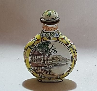 Chinese yellow enamel vintage Victorian oriental antique snuff perfume bottle