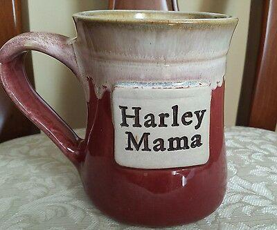 Harley Mama Coffee Mug Cup Red Pottery Glazed Stoneware Davidson 16 oz Oversized
