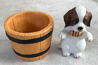 St. Bernard Dog Figure with Barrel ~ Porcelain Multipurpose Holder