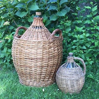 """GIANT Old FRENCH Green Glass DEMIJOHN Carboy BONBONNE Great WICKER BASKET 24""""H"""