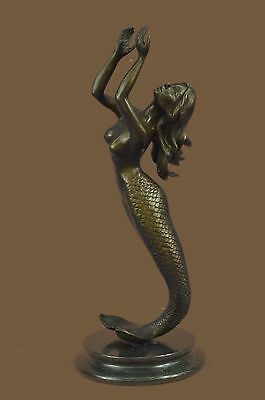 Mermaid Praying Handcrafted Bronze Sculpture Marble Base Figurine Figure Hotcast