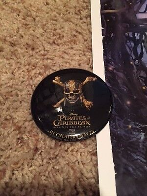 2 Disney Pirates of the Caribbean movie poster & pin!!