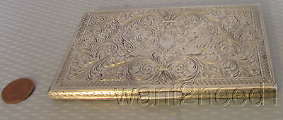 "vtg 800 CONTINENTAL SILVER CIGARETTE CASE 3""x5"" fine etched feathery scroll 159g"