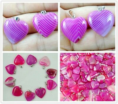 Unique Rose red Stripes Onyx Agate Love Heart Pendant Bead Gemstone necklace N1