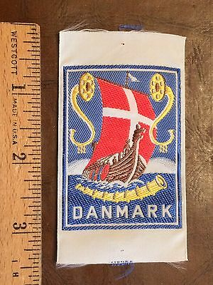 Denmark Denmark Viking Ship Danish Flag Boat Souvenir Woven Patch Badge