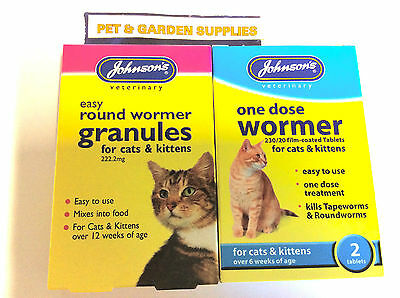 JOHNSONS ONE DOSE CAT & KITTEN WORMING TABLETS, GRANULES  or Flea Comb