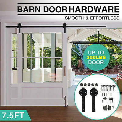 7.5 FT Vintage Strap Industrial Spoke Wheel Sliding Barn Wood Door Hardware Set
