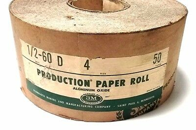 "New 3M - 4"" x 50 YDS. Aluminum Oxide Production Sand Paper Roll 1/2-60 Grit USA"