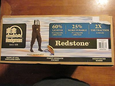 New Hodgman Redstone Chest Waders, Size 8, No Slip Boot, Light & Durable