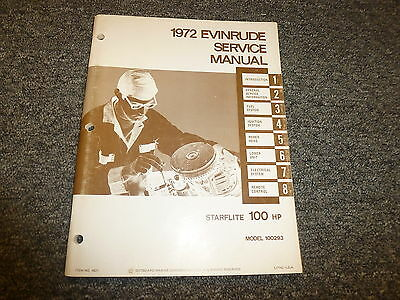 1972 Evinrude 100 HP Starflite Outboard Motor Shop Service Repair Manual