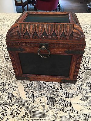 Antique Oak and Slate Tobacco Box Very Ornate Hand Carved Beautiful 1800S-1900S