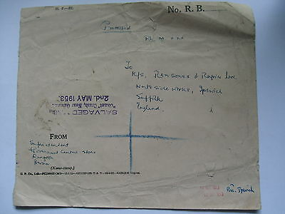 Salvaged Mail Comet Crash Calcutta 1953 Official Cover Sent Burma To Ipswich