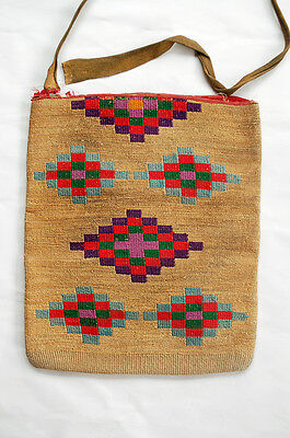 MUSEUM ANTIQUE NEZ PERCE PLATEAU INDIAN CORN HUSK BAG 1890's 16 x14 Two-Sided