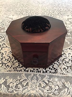 Antique Burl Walnut Pin Cushion Box Drawer Octagon Late 1800's