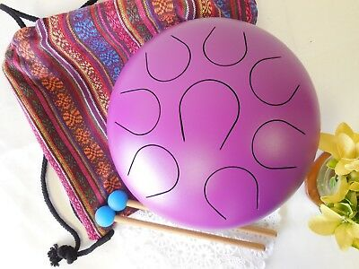 "WuYou 10"" Handmade Steel Tongue Drum Handpan Theropy Meditation healing, Purple"