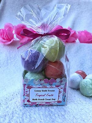 Handmade by LUXXY - 10 Bath Bombs Treat bag with Bow- Tropical scents