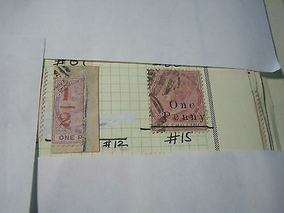DOMINICA-USED-SCOTT #12 & #15 Victoria surcharges---cv$41