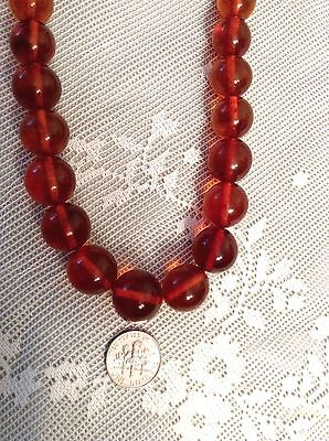 """RUSSIAN ANTIQUE/VNTGE Baltic Pressed HONEY AMBER Round BEADS  NECKLACE 44G,18.5"""""""