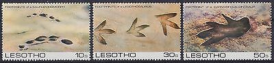 LESOTHO : 1984, Prehistoric Footprints, 2nd Series (Complete set of 3, MNH)