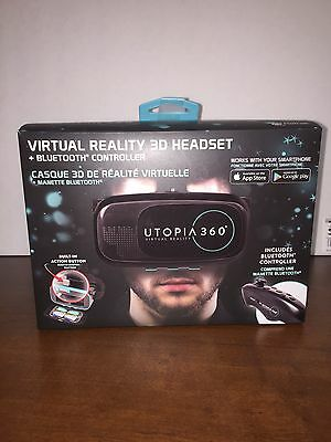 Utopia 360 Virtual Reality Headset With Bluetooth Controller remote~new