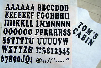 iron on transfer 35mm black 77. A-Z LETTERS and 10. NUMBERS custom print