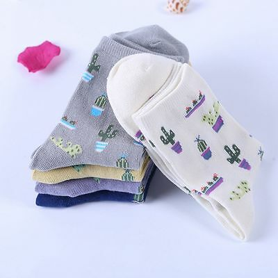 Cute Soft Lovely Cartoon Casual Cotton Socks Plant Cactus Pattern