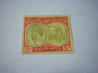 SAINT KITTS/NEVIS-USED-SCOTT #34-5/-red&green/yellow-George5th -cv$45
