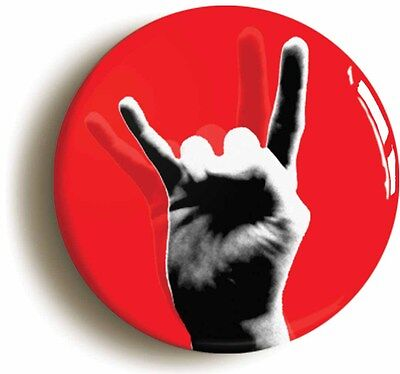 HEAVY METAL DEVIL FINGERS FUNNY BADGE BUTTON PIN (Size is 1inch/25mm diameter)