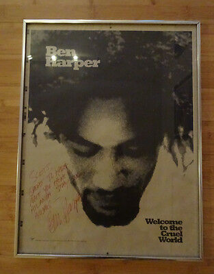 Welcome to the Cruel World Poster SIGNED by Ben Harper 1993 Framed