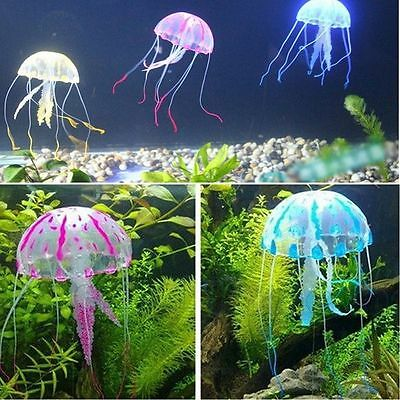 Aquarium Fish Tank Artificial Jellyfish Ornament Glowing Effect Silicone