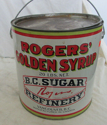 Vintage B.c. Sugar Refinery 20 Pound Rogers Golden Syrup Tin Can Pail Vancouver