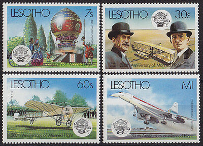 LESOTHO : 1983, Bicentenary of Manned Flight (Complete set of 4, MNH)