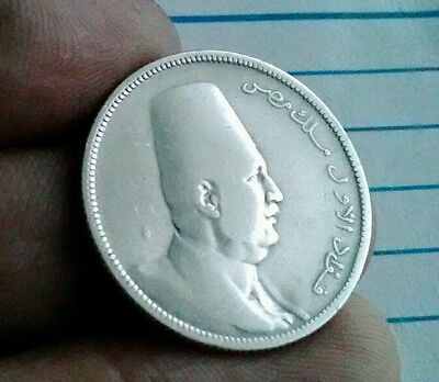 Egypt 5 Piastres Qirsh 1923 1341 Fuad I middle east rare silver coin KM 336 no H