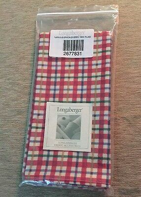 Longaberger Napkins ~ 2 Pack ~ Cherry Red Plaid ~ New In Package