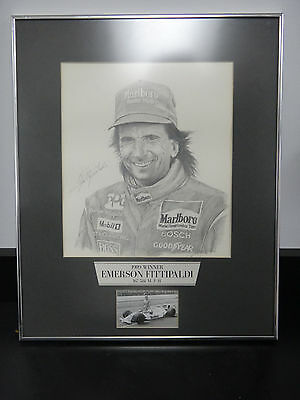 Pencil Drawing Indianapolis 500 Winner Emerson Fittipaldi IMS Museum 1989