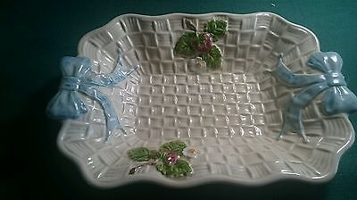Retro Shorter and Son hand painted decorative dish 23x15.5cm Strawberry pattern