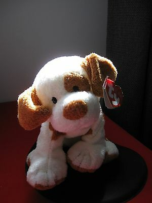2007 TY Pluffies PEPPY Puppy Dog White Brown Spots eye Floppy ears TAG Tylux