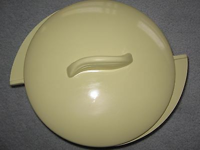 "Vintage Boonton Ware Yellow Melamine 8"" Winged Covered 2 Section Vegetable Bowl"