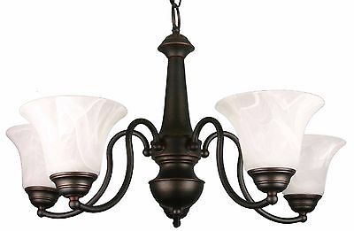 HOMEnhancements 5-Light Chandelier, Rubbed Bronze with Alabaster Glass CH-35A-RB