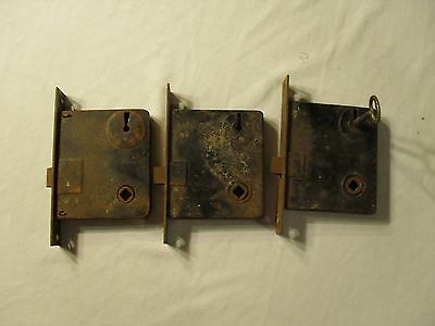 ANTIQUE DOOR LOCKS lot of 3 with Skeleton key
