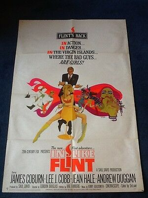 7 x VINTAGE ORIGINAL MOVIE POSTERS - One Sheet - Inc. IN LIKE FLINT James Coburn